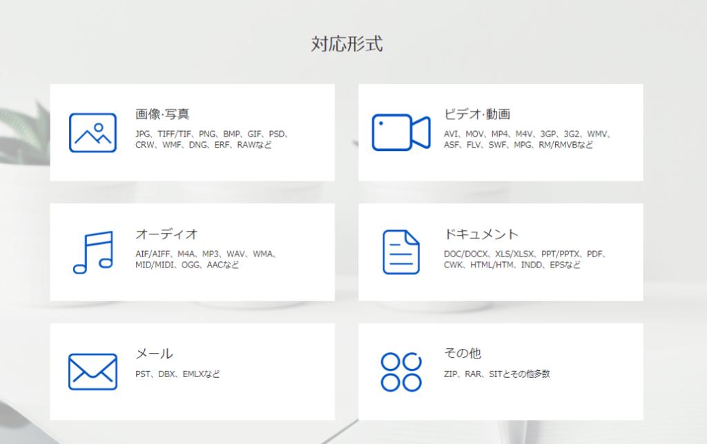FonePaw「データ復元」ソフト 対応形式